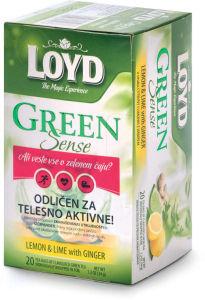 Čaj Loyd, zeleni, limona, limeta, ingver,34g