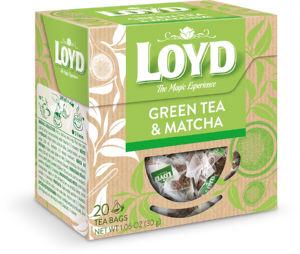 Čaj Loyd zeleni, z matcho v trikotnih vrečkah, 40 g