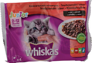 Whiskas Pouch, junior, mesni izbor, 4x100g