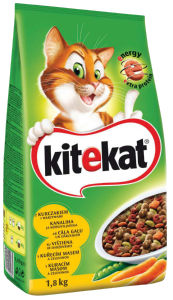 Briketi za mačke Kitekat, perutnina, zelenjava, 1,8kg