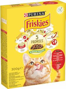 Briketi za mačke Friskies, meso, jetra, zelenjava, 300g