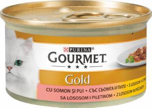 Hrana za mačke Gourmet, piščanec, losos, 85g