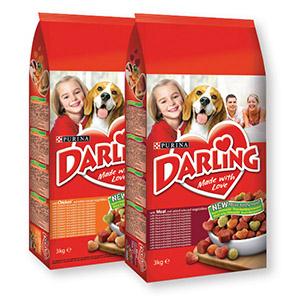 Briketi za pse Darling, različ. okusi, 3kg