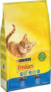 Briketi za mačke Friskies, losos, zelenjava, 1,5kg
