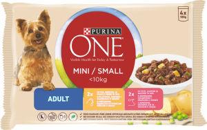 Hrana za pse One Mini, piščanec, govedina, 4x100g