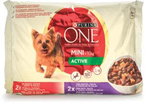 Hrana za pse One Mini, govedina, raca, 4x100g