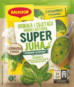 Juha Maggi, instant, brokoli, cvetačna s špinačo, dodani vitamin C, 57 g