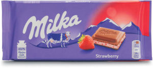 Čokolada mlečna Milka, jagoda in jogurt, 100 g