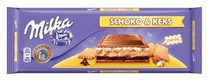 Čokolada mlečna Milka, Schoko&keks, 300g