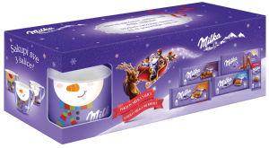 Čokolada mlečna Milka, božični mix s skodelico, 437g