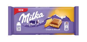 Čokolada mlečna Milka, Creme&Biscuit, 100g
