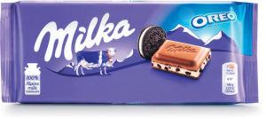 Čokolada mlečna Milka, z Oreo piškoti, 100 g