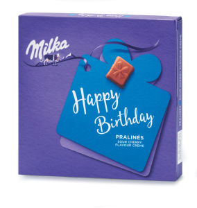 Bonbonjera Milka ml., Happy birthday, višnja, 110g