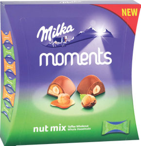 Bonbonjera Milka ml. Moments, karamela, lešnik, 169g