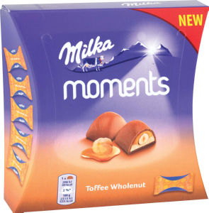 Bonbonjera Milka ml. Moments, karamela, lešnik, 97g