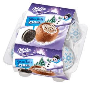 Čokolada Milka mlečna, snežne kepe z Oreo kremo, 112 g