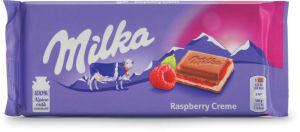 Čokolada mlečna Milka, double fill.,raspberry,100 g