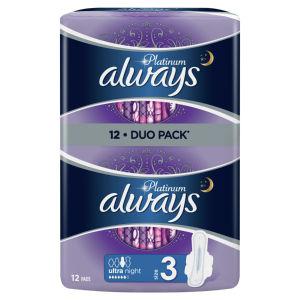 Higienski vložki Always ultra, Platinum, nočni, 12/1