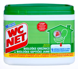 Čistilo WC Net,aktivator biološ.grez.,16x18g