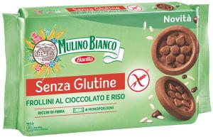 Keksi Frollini s čokolado, kakavon in rižem, brez glutena, 250 g