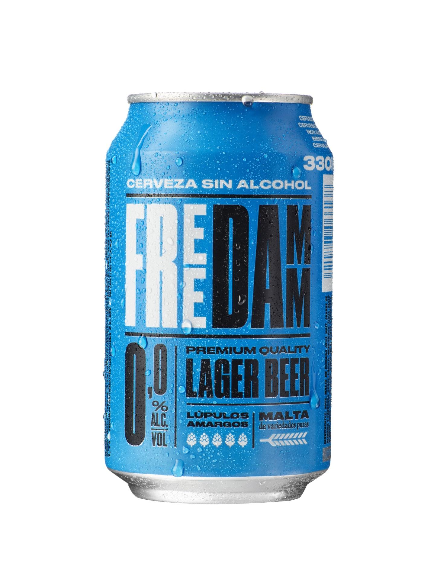 Pivo Free Damm, brezalkoholno, 0,33 l, pločevinka