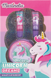 Darilni set Unicorn, otroški, torbica & 2 lip glosa