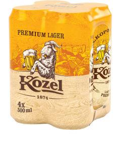 Pivo Kozel svetlo, ploč.,alk.4,6 vol%, 4×0,5l
