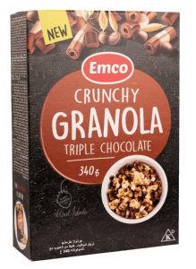 Musli Emco, hrustljavi, trojna čokolada, 340g