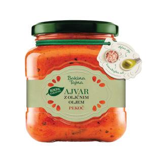Ajvar Bakina tajna, z olivnim oljem, pekoči, 300g