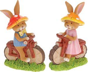 Dekoracija, zajček s kolesom, 16cm