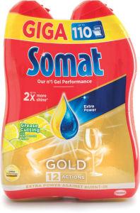 Detergent Somat, Gold antigrease, lemon, 2x990ml