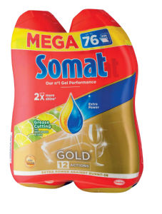 Detergent Somat, Gold, antigrease, lemon, 2x684ml