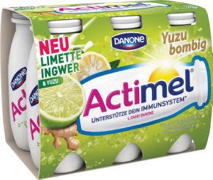 Jogurtov napitek Actimel, juzu, ingver, limeta, 6x100ml