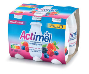 Jogurtov napitek Actimel, gozdni sadeži, 6x100g