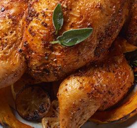 Ploščati piščanec na buči in limoni