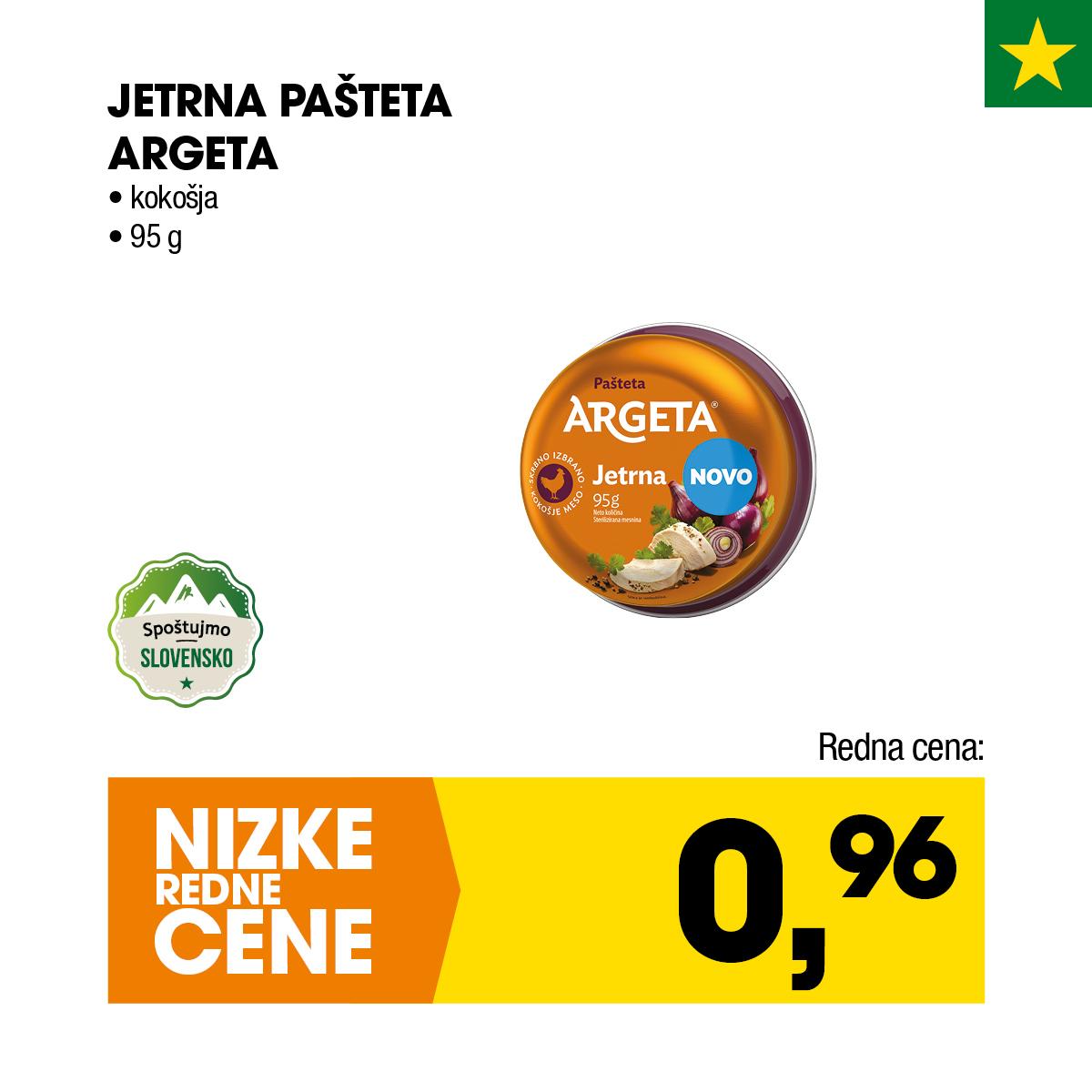 Nizke cene - kokošja jetrna pašteta Argeta