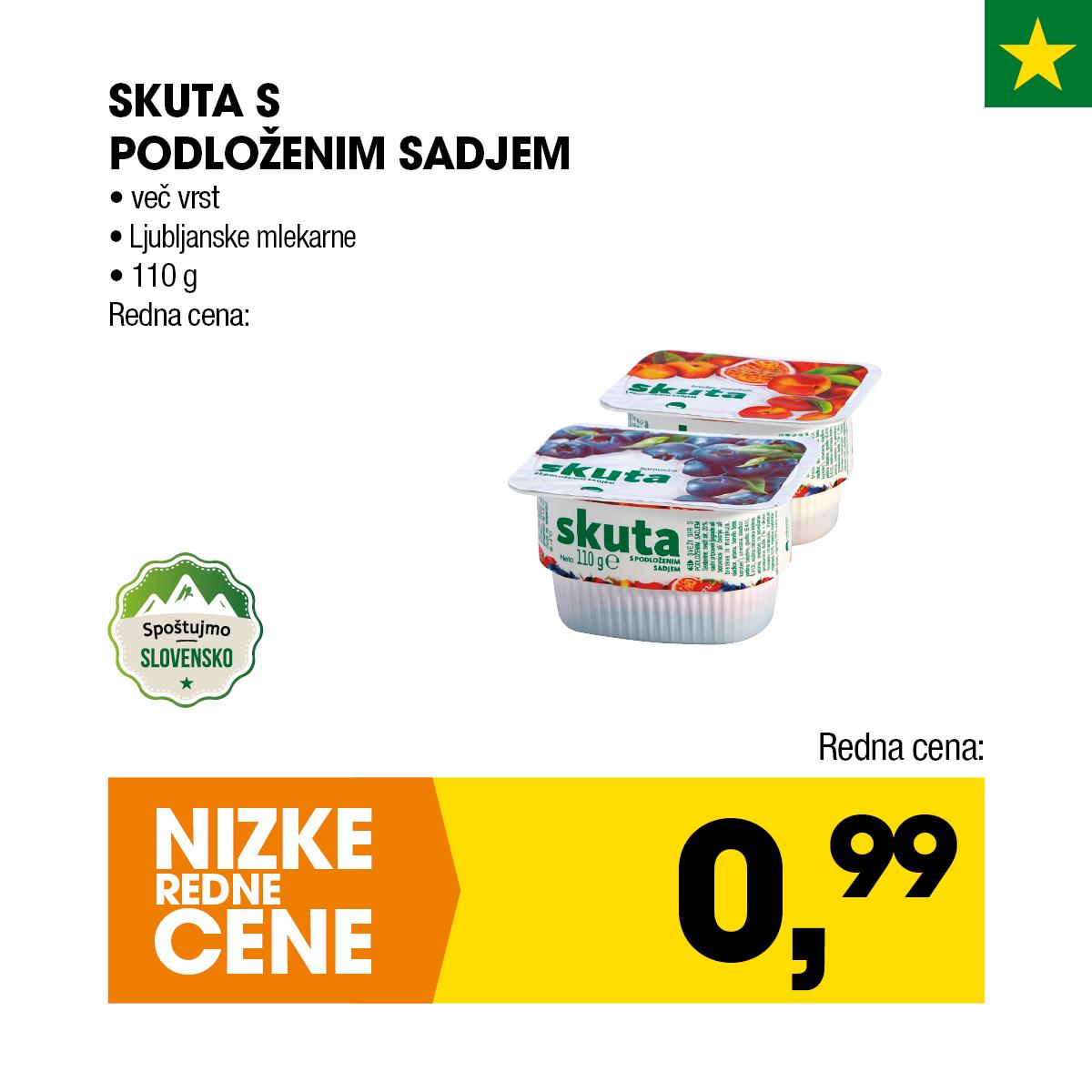 Nizke cene - Skuta s podloženim sadjem