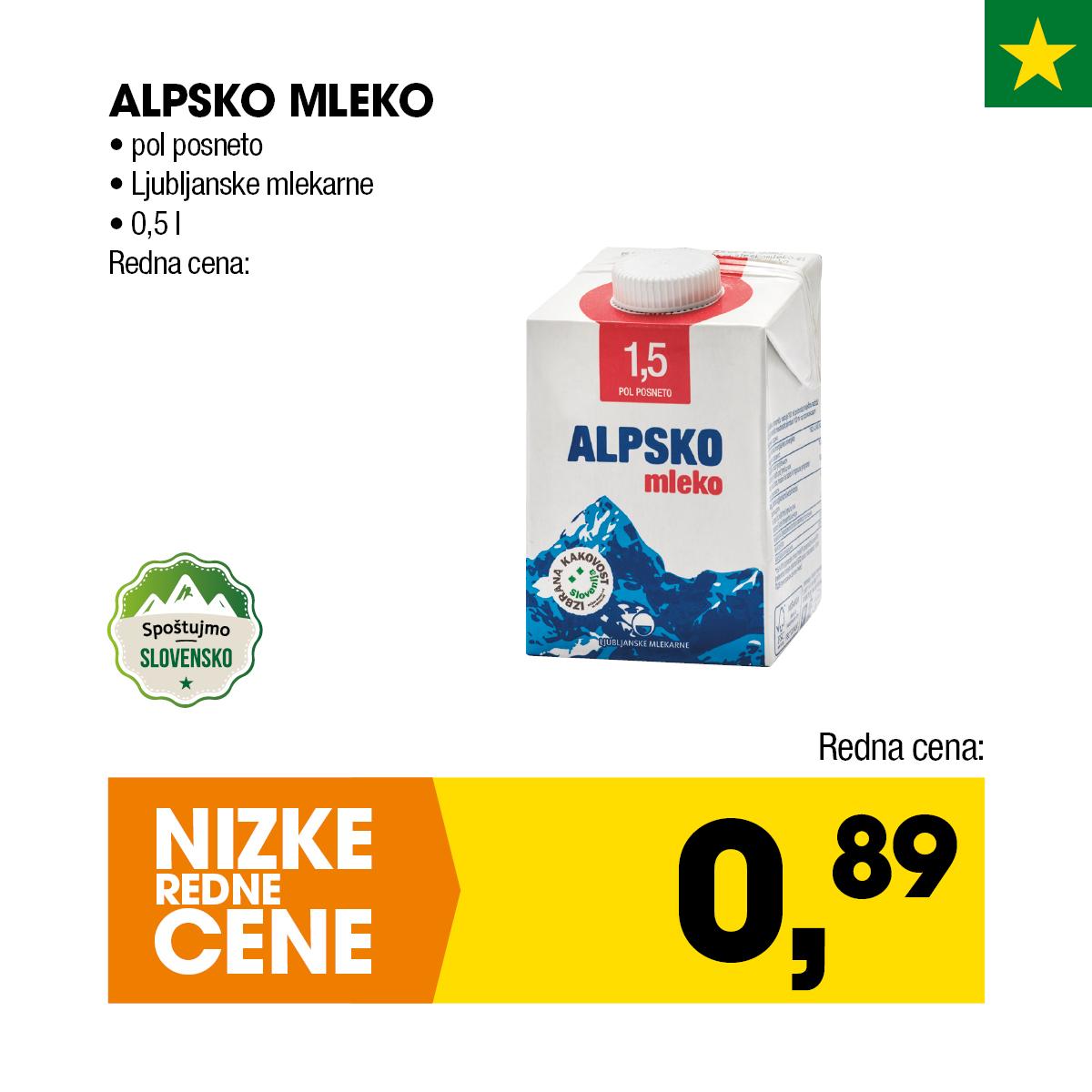 Nizke cene - Alpsko mleko Ljubljanske mlekarne