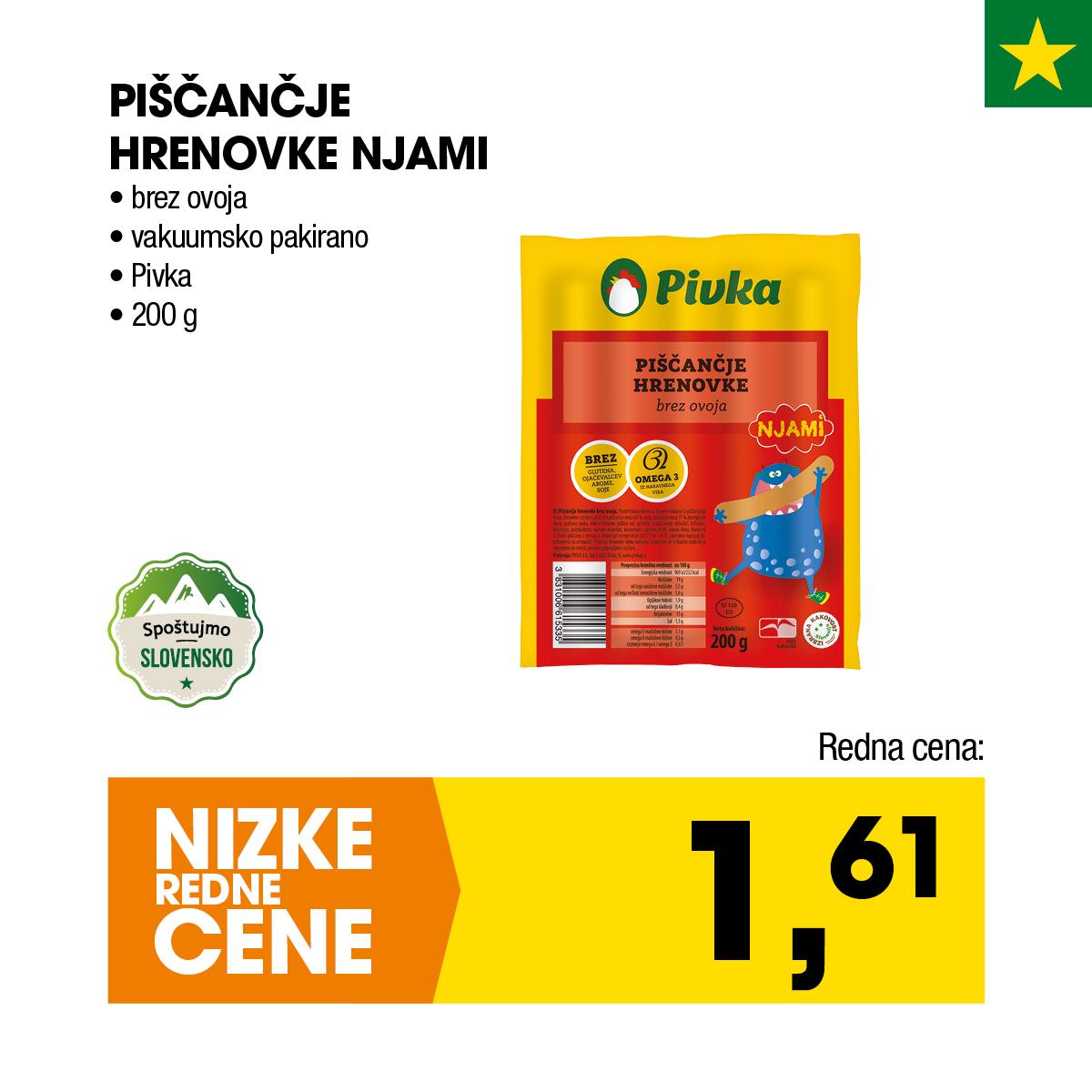 Nizke cene - Piščančje hrenovke Njami
