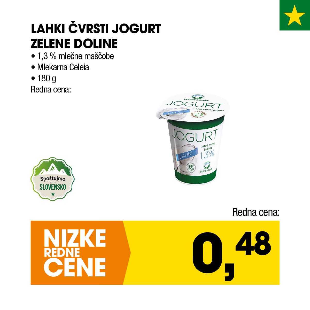 Nizke cene - Lahki čvrsti jogurt Zelene doline