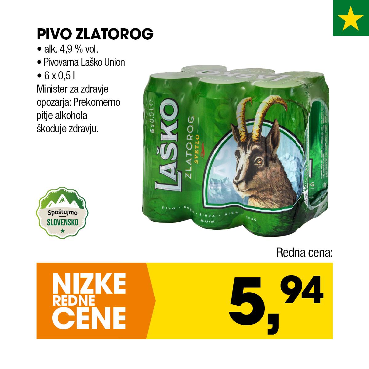 Nizke cene - Pivo Zlatorog 6x0,5l