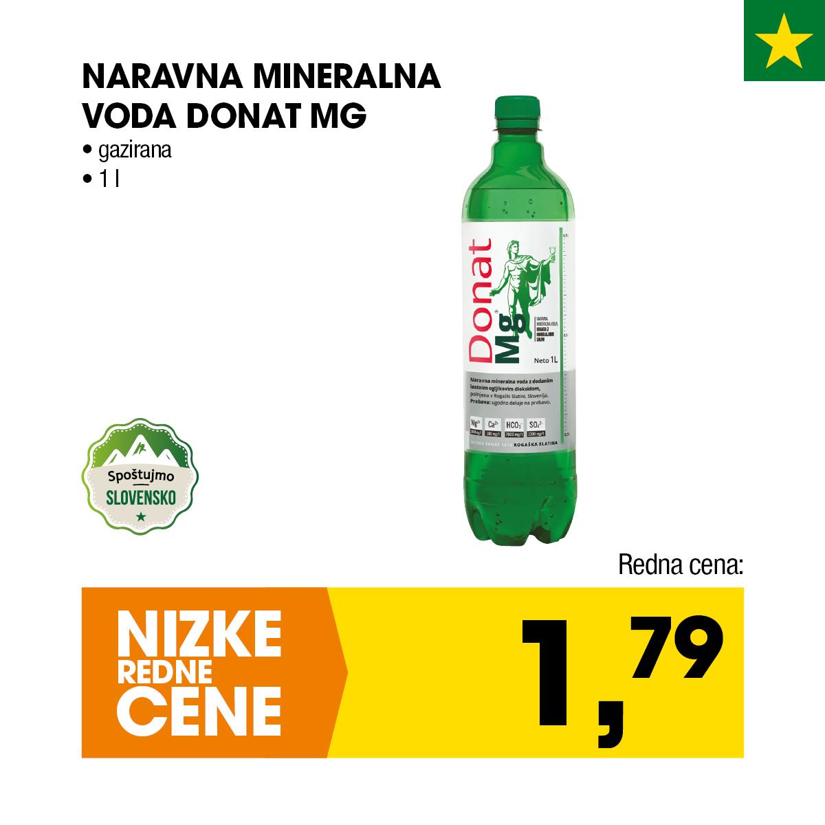 Gazirana naravna mineralna voda Donat MG