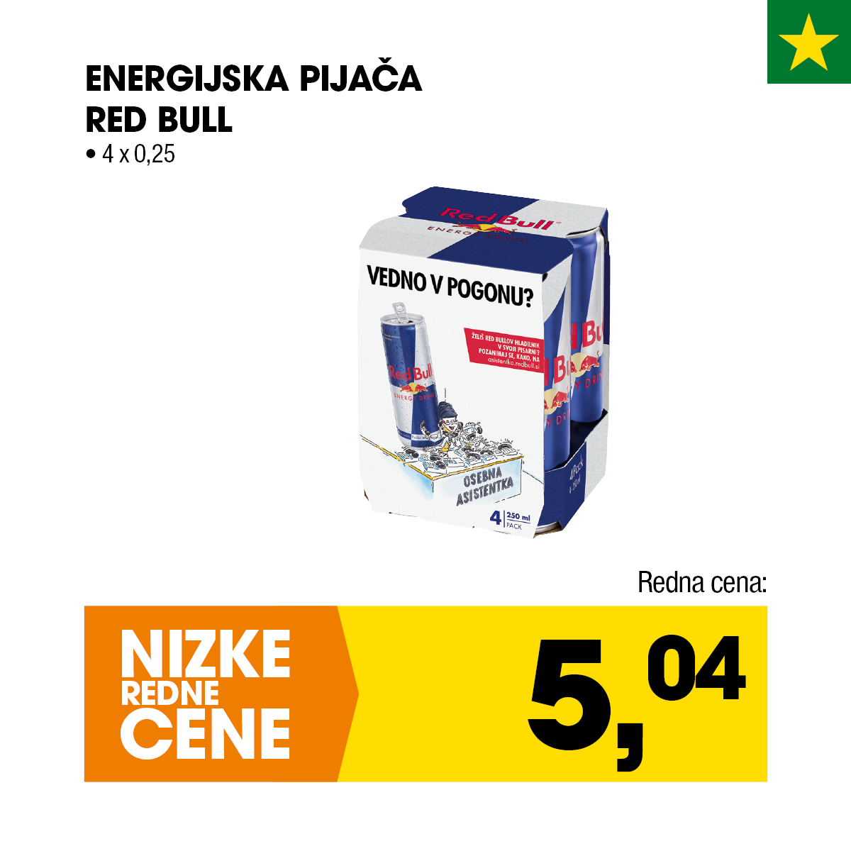 Red Bull energijska pijača 4x0,25