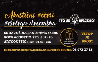 Akustični večeri veselega decembra v Pivnici To še spijemo